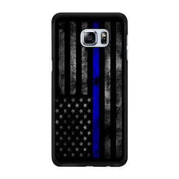 American Police Officer The Thin Blue Line Samsung Galaxy S6 Edge Plus Case