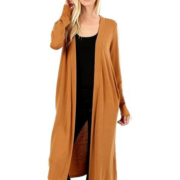 "Duster Sweater Open Cardigan with Side Pockets-42"", Coffee"