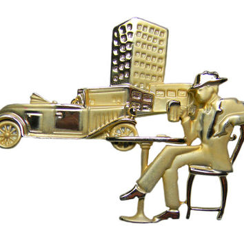 Cityscape Man Beer Car Brooch Outdoor Scene by AJC