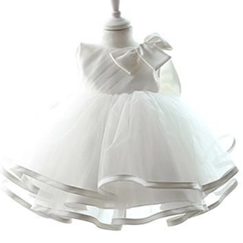 White Newborn Baby Dresses Clothes For Girl Costume Infant First Birthday Party Wear Tutu Toddler Baptism Kids Clothes 1 2 Years