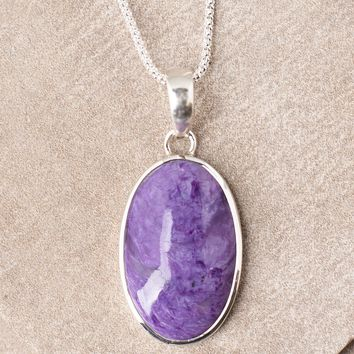 Charoite Oval Pendant Necklace