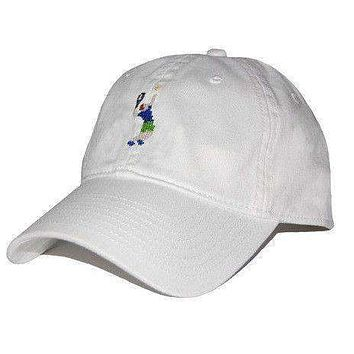 Tennis Player Needlepoint Hat in White by Smathers & Branson