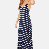 Wilshire Boulevard Navy Blue and White Striped Maxi Dress