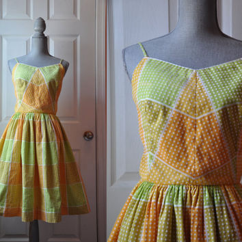 Vintage 1950s dress | multicolor polka dot geometric cotton 50s dress • Pastel Geometric dress