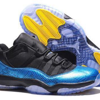 Cheap Air Jordan 11 Low Men Shoes Black Blue Snakeskin