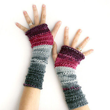 Hand knit fingerless gloves , Long knit gloves, Knit gloves mittens, Boho knit glove mittens, knit armwarmers,wrist warmers
