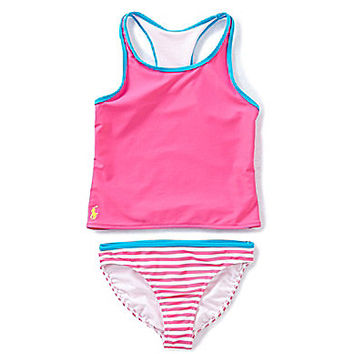 Ralph Lauren Childrenswear 7-16 Racerback Tankini Set - Pink