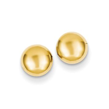 6mm Polished Half Ball Post Earrings in 14k Yellow Gold