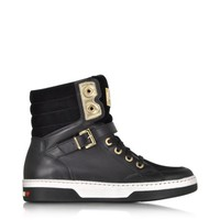 Moschino Designer Shoes Love Moschino Black Leather and Suede High Top Sneaker
