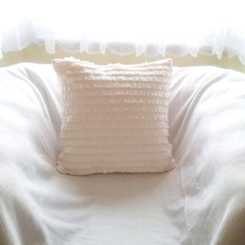 Ruffle pillow, shabby chic pillow, white pillows, ruffle cushion, ruffle euro sham, decorative, cushion, ivory, cream, off white.