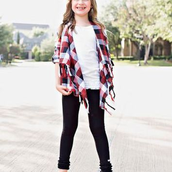 Ruffle Butts 2017 Fall Girls Red, White, & Black Drape Front Cardigan