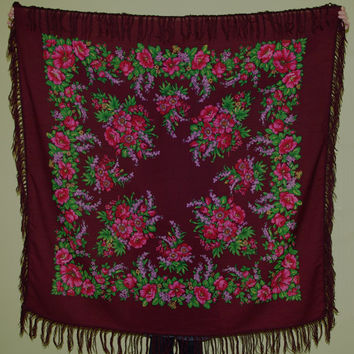 Big shawl with fringes /Pavlovo Posad shawl Plum Maroon /Vintage Russian Shawl /Ukrainian Shawl /Folk Scarf with Tassels /Shawl with Fringes