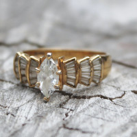 Gold Marquis Engagement Ring- Vintage, CZ, Costume Jewelry