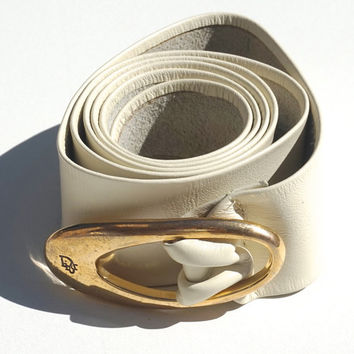 "Vintage elt, CHRISTIAN DIOR, Leather Belt,Cream Leather Belt,1.5"" Cinch Belt,Size M-L,Designer Belt,Ladies Vintage Leather Belts,Signed Belt"