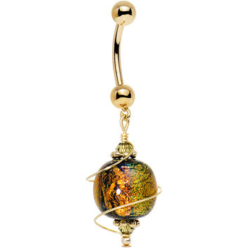 14k Gold Autumn Dichroic Belly Ring Created with Swarovski Crystals