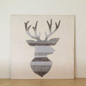 2'x 2' Striped Deer Head, Wood Wall Art, Children's Art, Kids Wall Decor, Woodland Nursery Art, Gray Nursery, Natural Wood Sign, Rustic Art