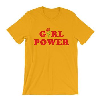 Feminist Shirt Inspirational  T-Shirt Girl Power Flower  Rose All Day GRL PWR