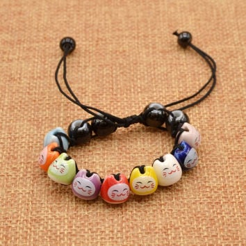 Handmade Creamic Beads Charm Fortune Money Cat Red String Lucky Bracelet Adjustable