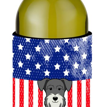 Patriotic USA Miniature Schanuzer Salt and Pepper Wine Bottle Beverge Insulator Hugger BB3049LITERK