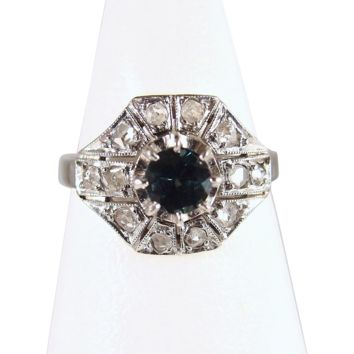 Art Deco vintage sapphire and diamond ring Stamped 18K white gold