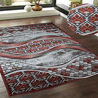 Rust Taupe Gray 8x10 Modern Contemporary Transition Carved Design Area Rug