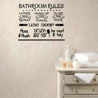 Bathroom Rules Vinyl Wall Words Decal Sticker