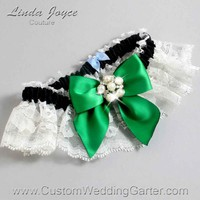 "Emerald Green, Black, and Ivory Lace Pearl Bridal Garter ""Monica 10"" Silver"