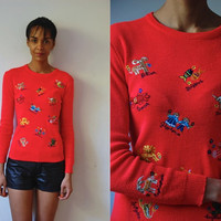 Vtg French Zodiac Signs Stitched Bright Red Fitted Sweater