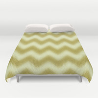 Chevron Gold Berry Duvet Cover by Alice Gosling | Society6