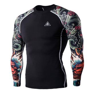 T-shirts Men's Digital Printing Fitness Quick-drying Clothes Wear Long Sleeve Tattoo T shirts Man Fitness Clothing Male Tops XXL