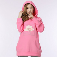 Pregnant Women Hoodie Print Long Pink Coat Maternity = 1946515972