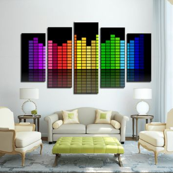 Colorful Equalizer 5 Panels Canvas Prints Wall Art for Wall Decorations