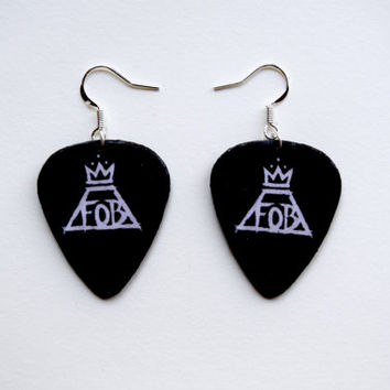 Fall Out Boy logo Guitar Pick Earrings