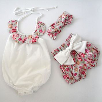 Baby Bodysuits toddler boutiques floral ruffle romper