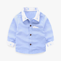 Boy's Star Print Color Block Shirt