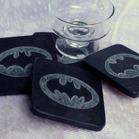 Natural stone hand crafted Black Slate coasters with Batman design hand carving