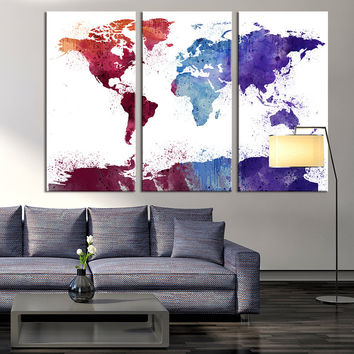 Large Art - World Map Canvas Print, Extra Large World Map Wall Art, Extra Large World Map Canvas Print, Watercolor  World Map Wall Art