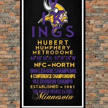 Minnesota Vikings - Eye Chart chalkboard print - sports, football, gift for fathers day, subway sign - Eyechart wall art