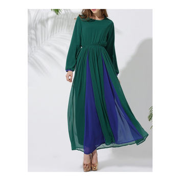 Long Sleeve Dress Court Muslim Vintage Garments\   green blue