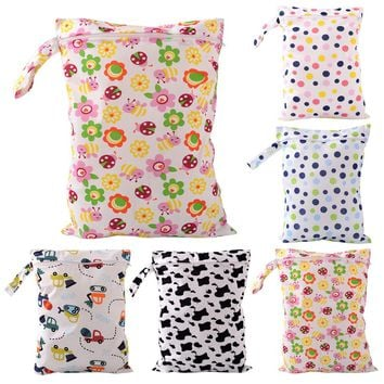Waterproof Baby Diaper Bags Reusable Washable Zipper Baby Cloth Diaper Wet Dry Bag Swimer Tote for Baby Nappy Storage