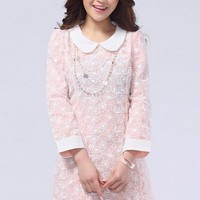 Kawaii Lolita Slim Fit Doll Collar Lace Long Sleeve Dress - Pink or Light Blue - S M L XL from Tobi's Finds