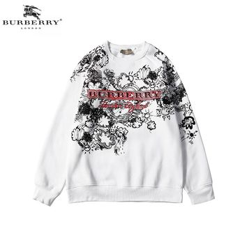 Burberry 2018 autumn and winter new graffiti printing round neck long-sleeved sweater White