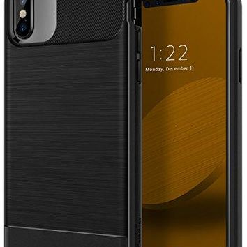 iPhone X Case, Caseology [Vault Series] Slim Protective Shock Absorbing TPU Rugged Protection Textured Grip for Apple iPhone X (2017) - Black