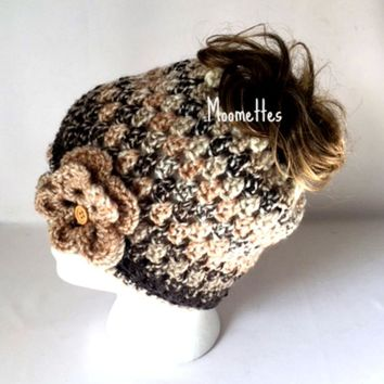 Handmade Messy Bun Hat Ponytail Nordic Beanie Black Brown Beige Gray White Wood Button Crochet Flower