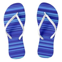 Multi-tone Blue Striped Flip Flops - White Straps