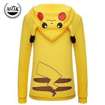 Pokemon Face Pikachu Zip Hoodie Sweatshirt