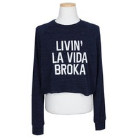 Wholesale Casual Letters Print Long Sleeve Round Collar Crop Top For Women (DEEP BLUE,ONE SIZE), Long Sleeves - Rosewholesale.com