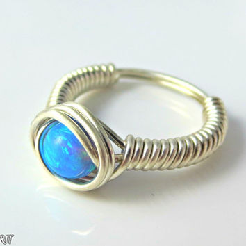 Opal ring, blue opal, wire wrapped, fine silver, size 8, stone ring, wrapped ring, light blue, delicate ring