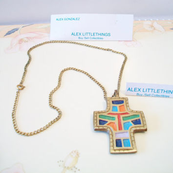 Colorful Enamel Cross Necklace Terra Sancta Guild 1971 Israel Brass Religious Scripture Jewelry