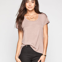 Life Clothing Co. Step Hem Womens Roll Cuff Tee Taupe  In Sizes